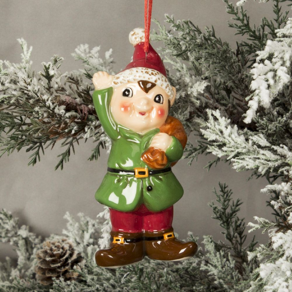 Ceramic Elf Hanging Christmas Tree Decoration